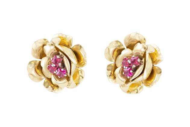 Ruby Floral Gold Stud Earrings front
