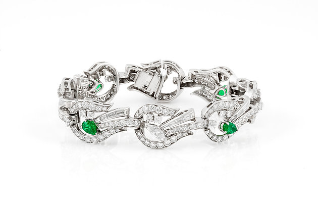 teardrop cut emerald and diamond bracelet front