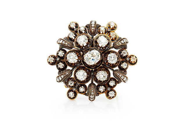 Antique Diamond Brooch Front View