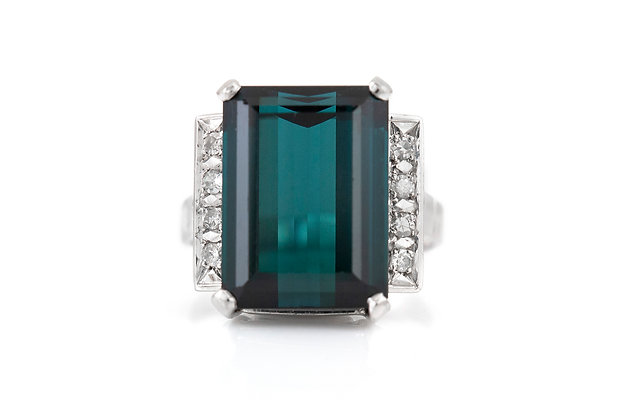 Tourmaline Cocktail Ring with Diamonds top