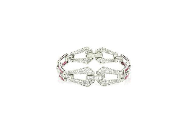 Art Deco Ruby & Diamond Bracelet front view