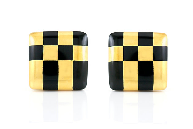 Tiffany & Co. Checkerboard Black Onyx Earrings front view