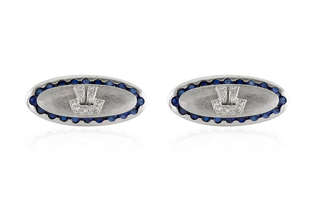 Oval Sapphire and Diamond Cufflinks front