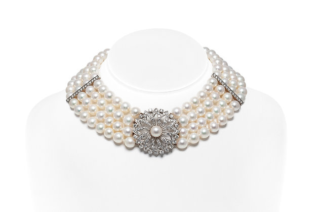 Beautiful Akoya Pearl and Diamond Chocker Front View