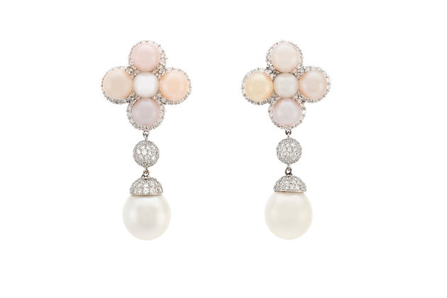 3.45 Carat Diamonds with Pearls Drop Earrings front view