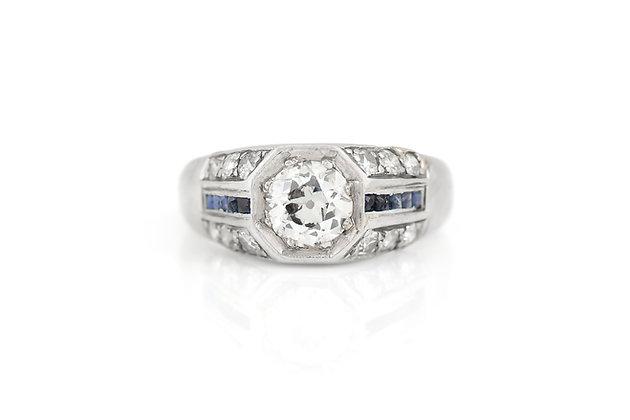 1.00 Carat Diamond Sepphire Art Deco Engagement Ring top view