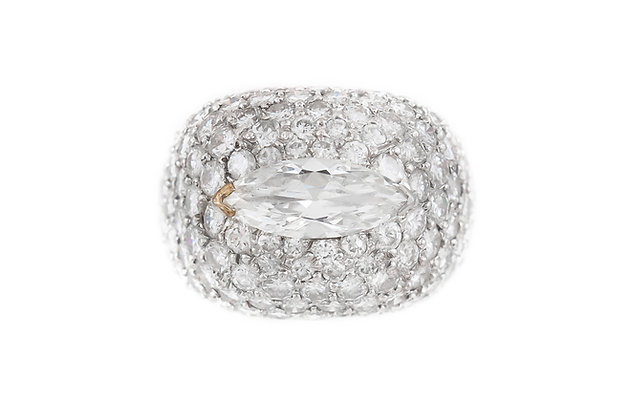 1950s Marquise and Round Diamonds Ring