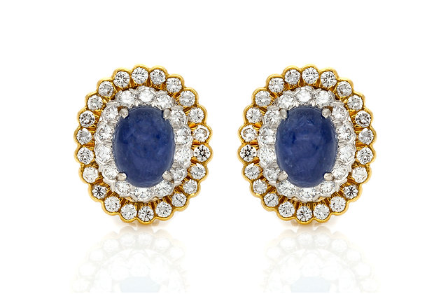 David Webb Sapphire Diamond Clip Earrings Front View