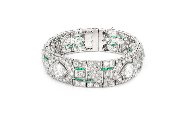 Art Deco Diamond & Emerald Bracelet