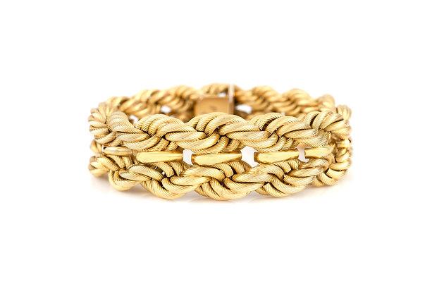 18 Karat Yellow Gold Braid Design Bracelet front view