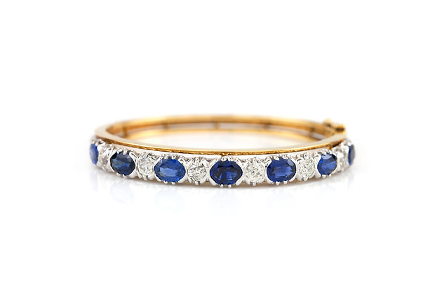 1900 Sapphire and Diamond Bangle front view