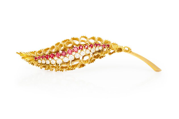 French Ruby Diamond Brooch Front View