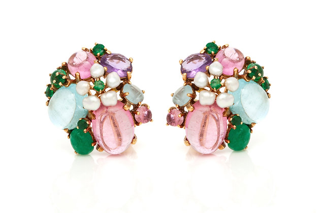"""Tutti Frutti"" Clip-on Earrings Front View"