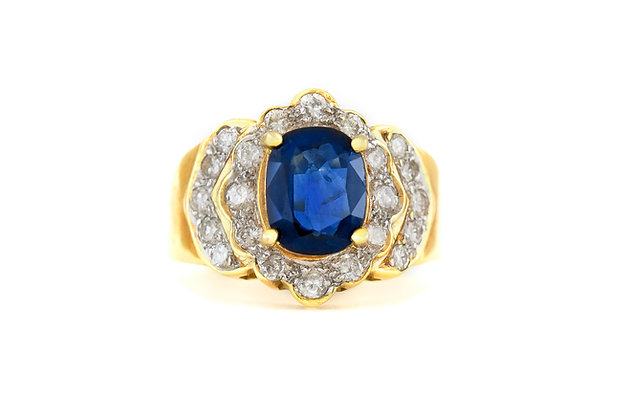 Two Diamond Layer Sapphire Ring top