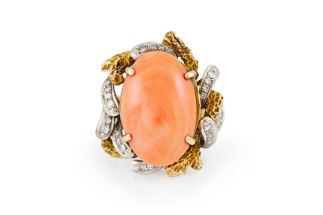 Oval Coral Cocktail Ring with Diamonds top