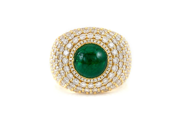Emerald Gold Cocktail Ring with Diamonds top