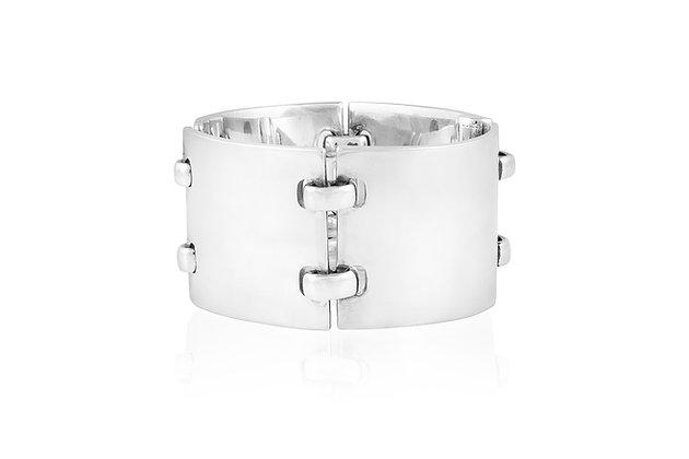 Hermes Silver Link Bracelet Front View