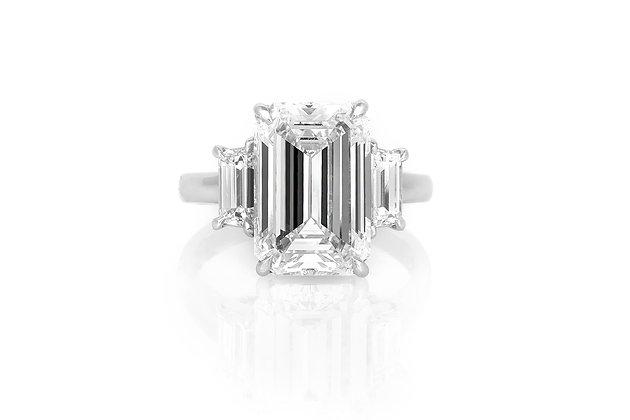 5.33 Carat Emerald Cut Engagement Ring top view