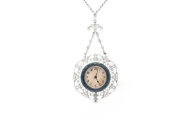 Edwardian Pendant Watch Necklace with Blue Enamel and Diamonds
