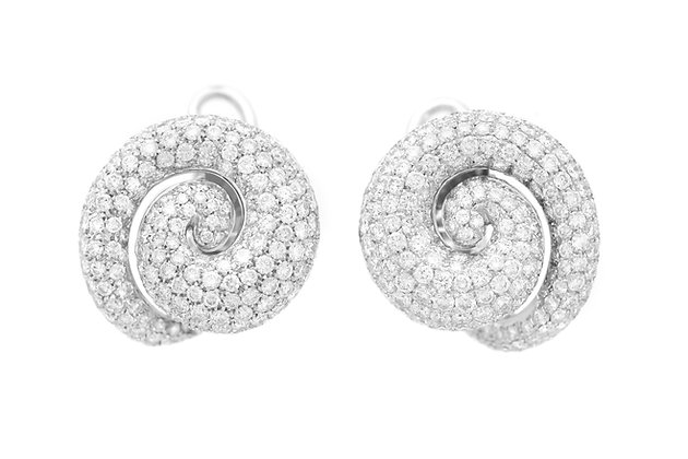 Roberta Porrati 12.70 Carat Diamonds Spiral Earrings front view