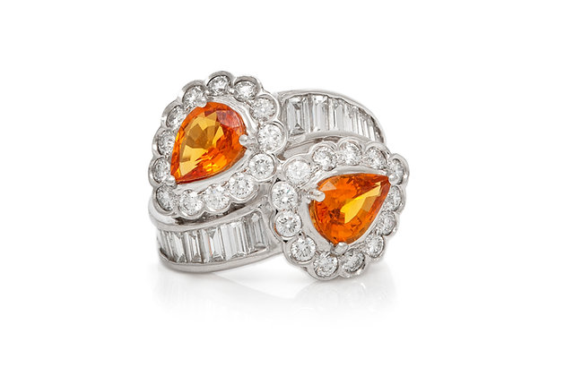 Orange Sapphire Diamond Ring Front View