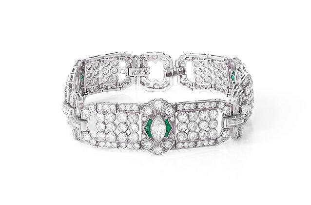 1930's Diamond and Emerald Platinum Bracelet