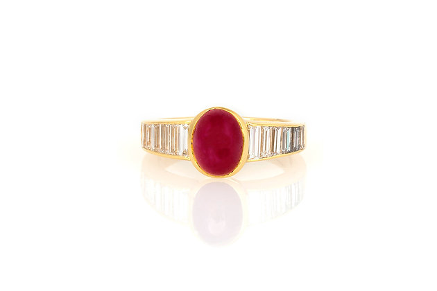 2.00 Cabochon Ruby & Diamond Ring top view