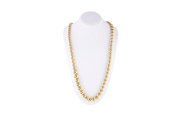 Tiffany & Co Long Chain Gold Necklace On the Neck View