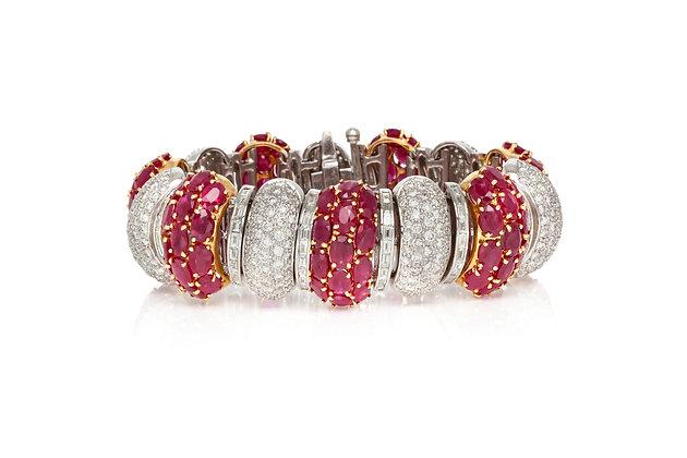 Diamond Ruby Bracelet Front View