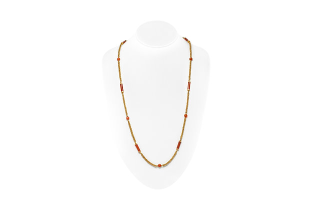 Italian Coral Necklace  On Neck View