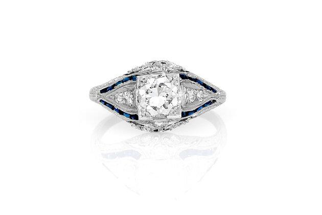 0.80 Carat Art Deco Engagement Ring top view
