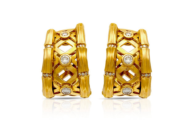 Cartier Diamond Clip-On Earrings Front View