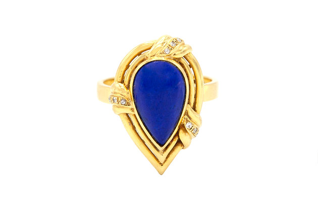 Pear Lapis and 18k Yellow Gold Ring