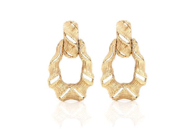 Shrimp Open Hoop 14k Gold Earrings Front View