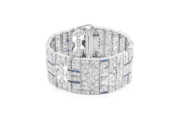 Art Deco Diamond & Sapphire Bracelet front view