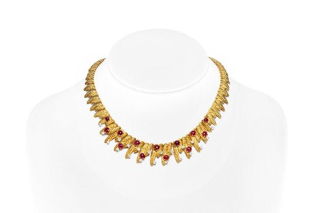 Parisian Stalactites Ruby Diamond Necklace On Neck View