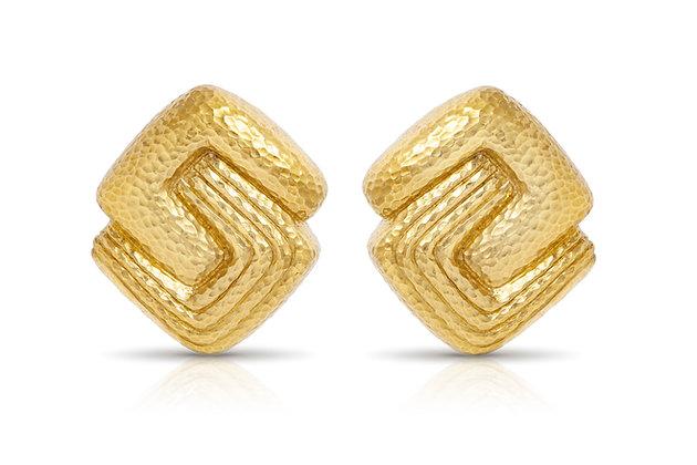 David Webb Gold Earrings Front View