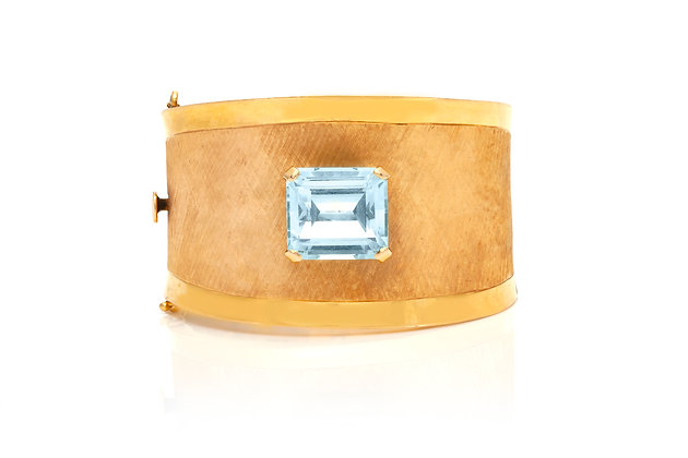 Aquamarine Yellow Gold Cuff Bracelet Front View