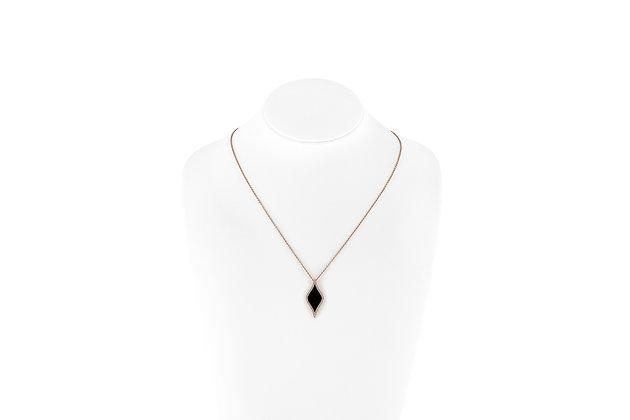 Onyx Diamond Pendant Necklace Neck View