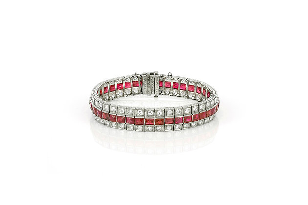 Art Deco Ruby and Diamond Bracelet front view