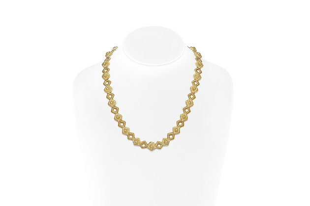Yellow Gold Square Links Necklace On Neck View