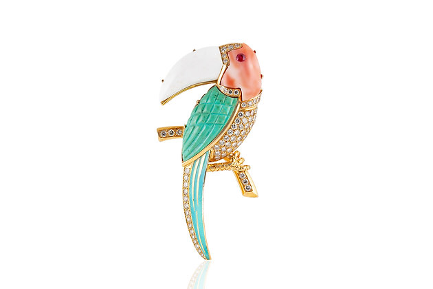 Toucan Brooch Front View