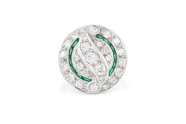 Filigree Platinum Emerald and Diamond Ring top view