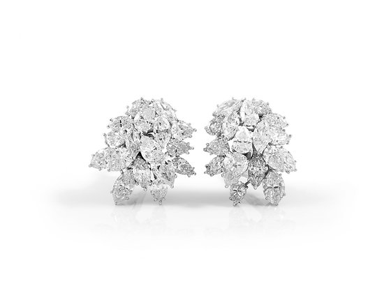 Diamond Cluster Earclip Earrings front view