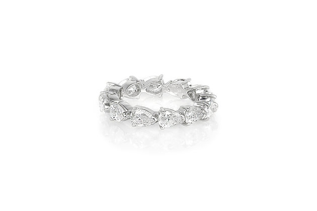 4.20 Carat Pear Shaped Diamond Eternity Band front view