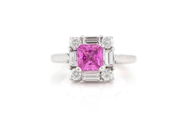 1.50 Carat Pink Sapphire Diamond Ring top view