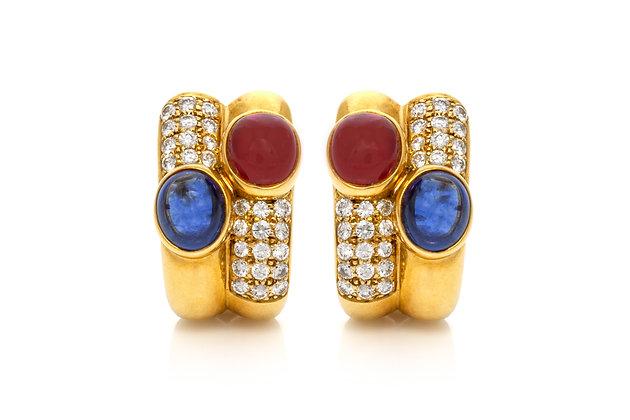 Bvlgari Diamond Sapphire Ruby Earrings Front View