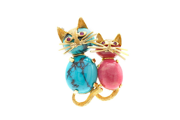 Pink Agate and Turquoise Cats Pin