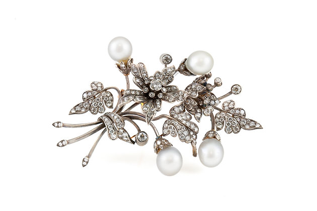Georgian Flower Brooch with Pearl and Diamonds front