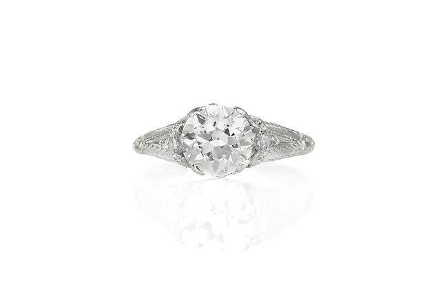 1.95 CaratOld European Cut Diamond Ring top view